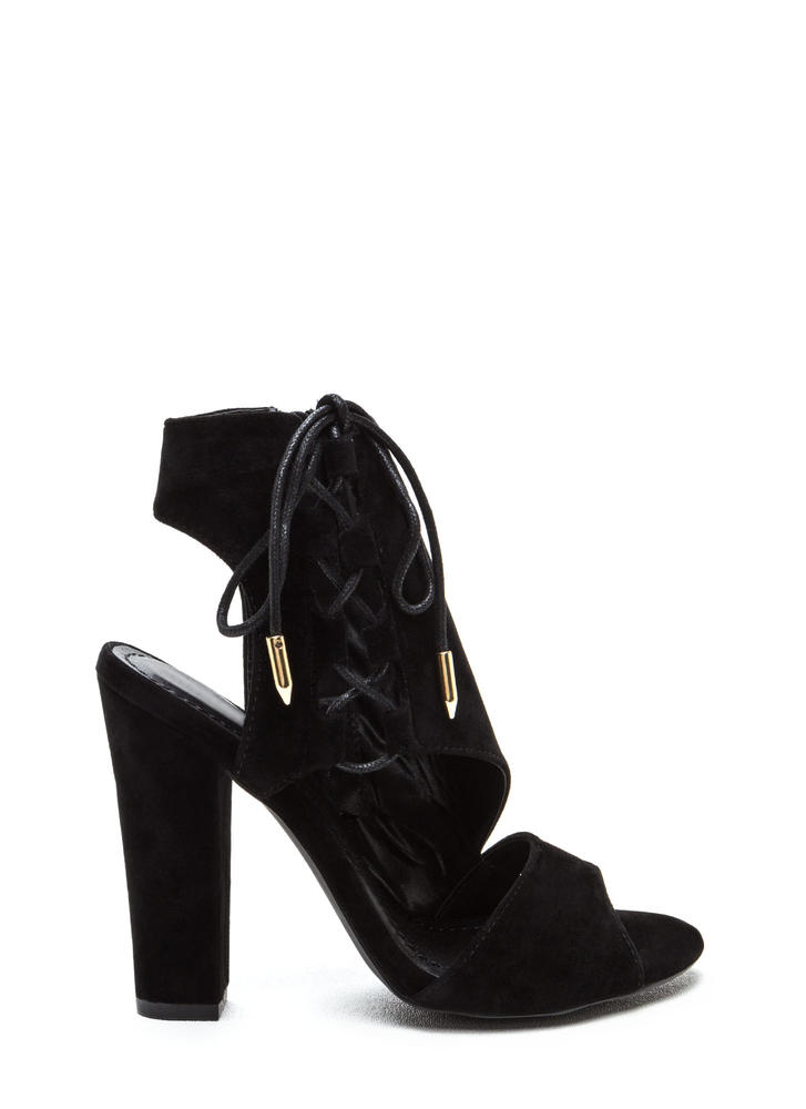 Strong Angles Faux Suede Chunky Heels MOCHA OLIVE BLACK - GoJane.com