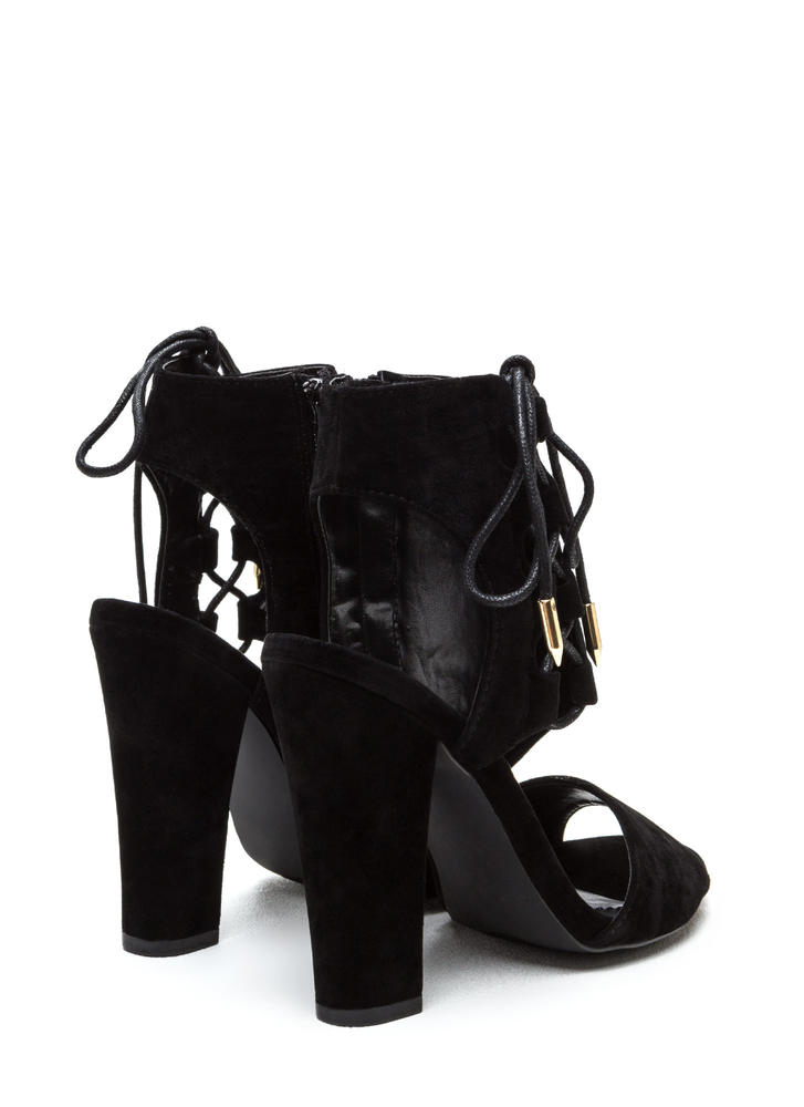 Strong Angles Faux Suede Chunky Heels BLACK (Final Sale)