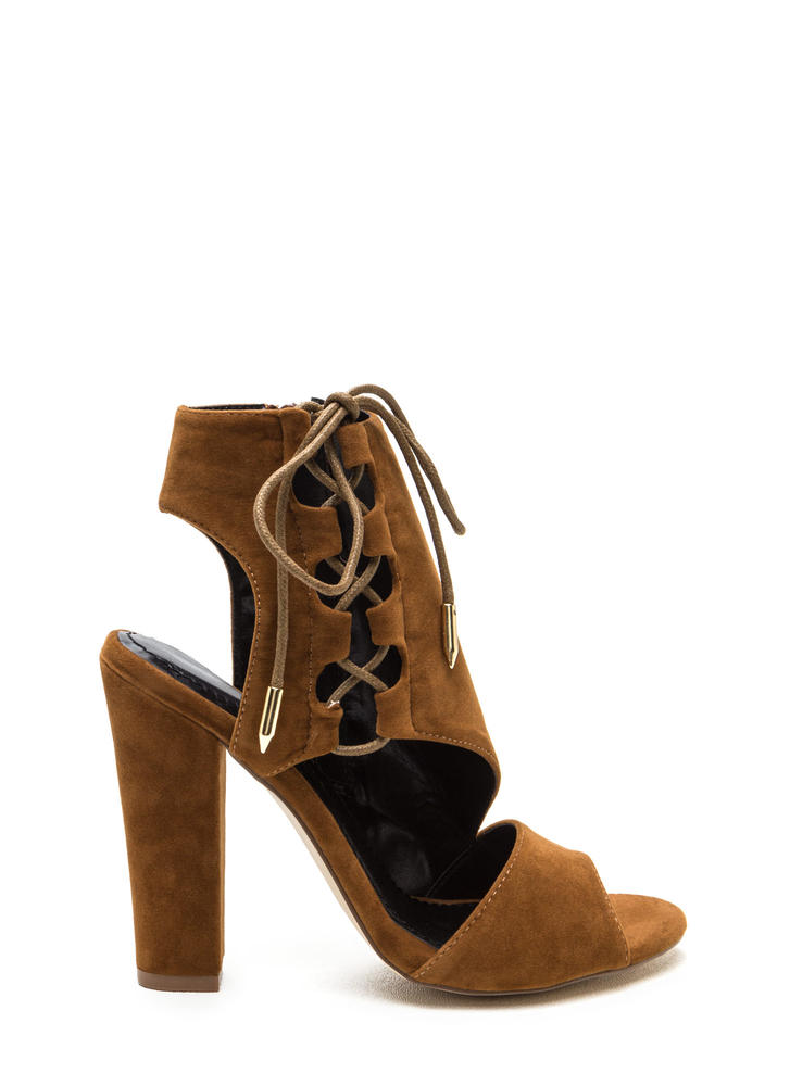 Strong Angles Faux Suede Chunky Heels MOCHA (Final Sale)