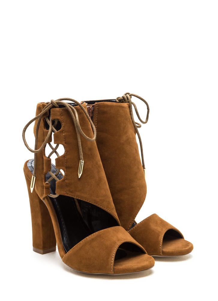 Strong Angles Faux Suede Chunky Heels MOCHA