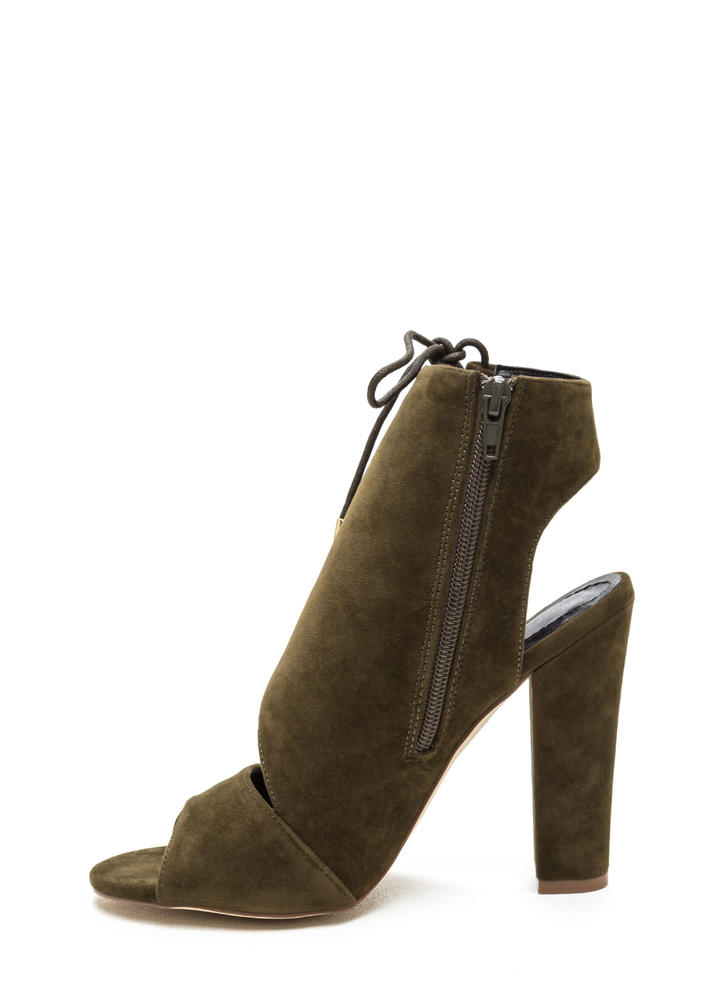 Strong Angles Faux Suede Chunky Heels OLIVE (Final Sale)