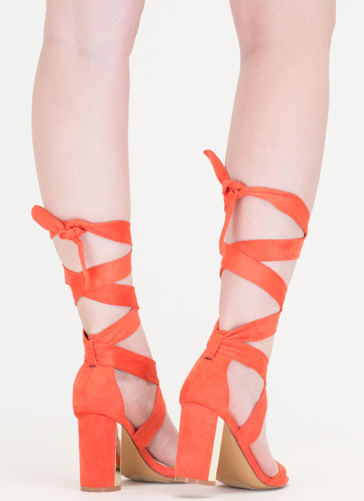 Gleam Come True Chunky Tie-Up Heels CORAL
