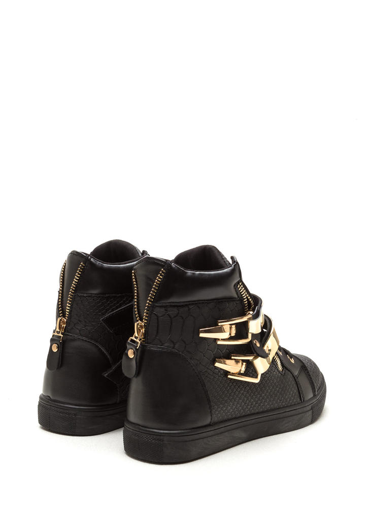 Plate Date Scaled High-Top Sneakers BLACK