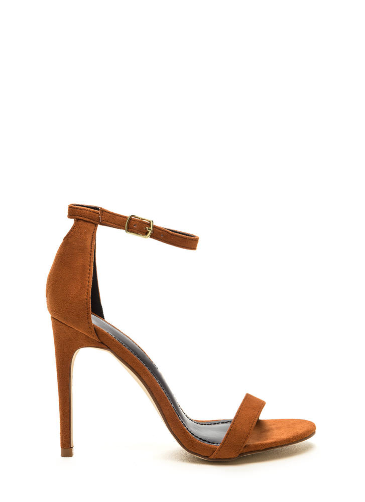 Keyhole To My Heart Faux Suede Heels CHESTNUT