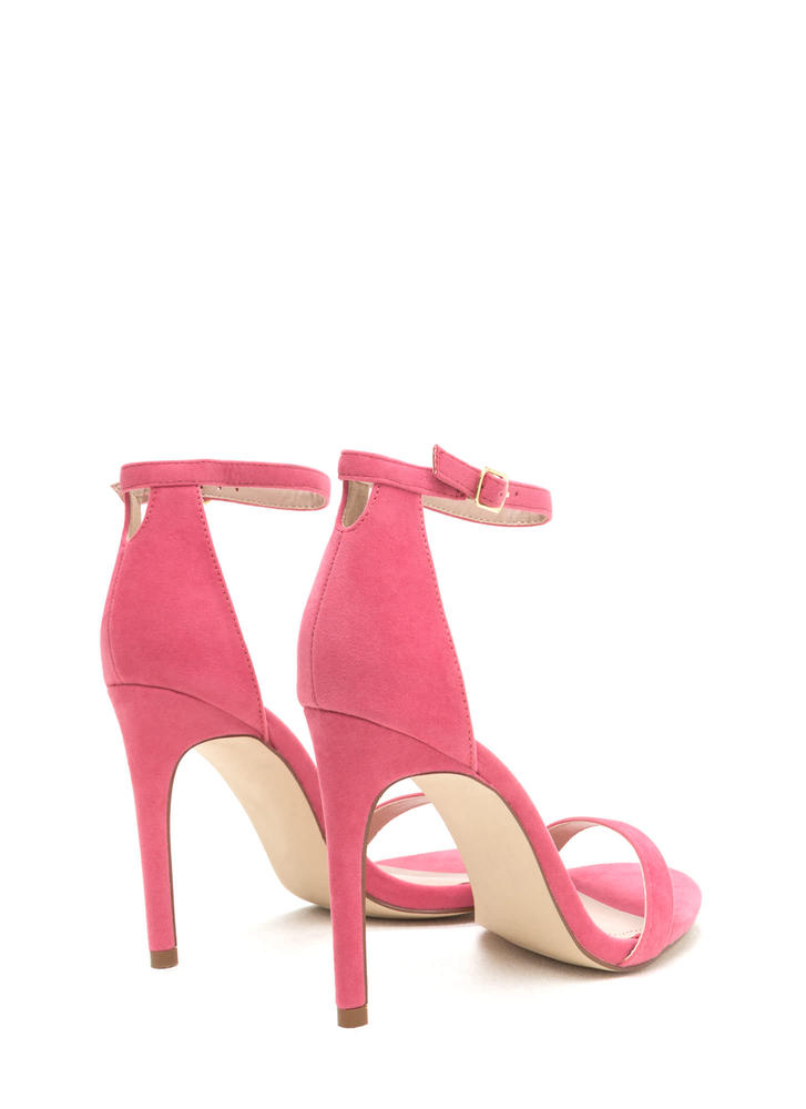 Keyhole To My Heart Faux Suede Heels CORAL