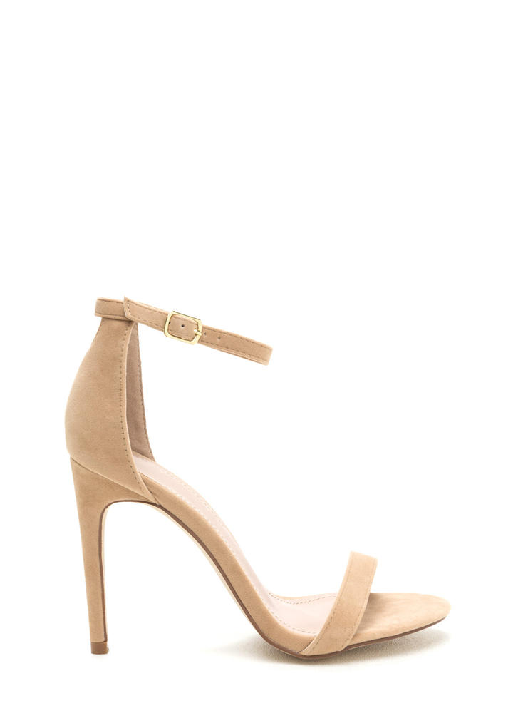 Keyhole To My Heart Faux Suede Heels NUDE