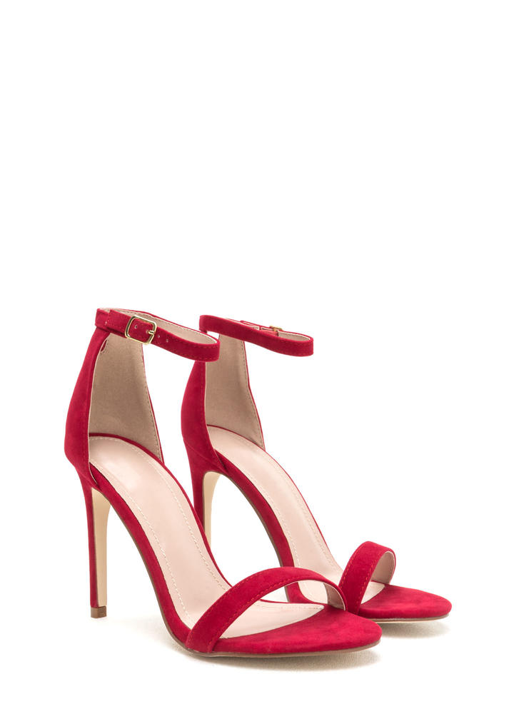 Keyhole To My Heart Faux Suede Heels RED