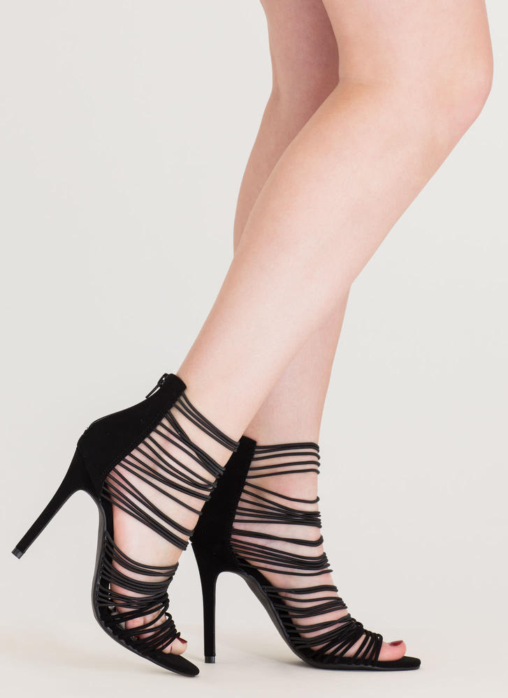 The Right Cords Strappy Caged Heels BLACK (Final Sale)