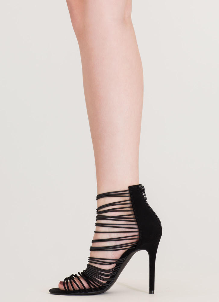 The Right Cords Strappy Caged Heels BLACK