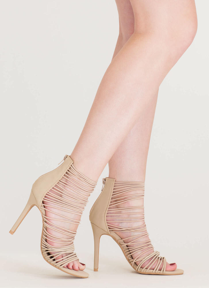 The Right Cords Strappy Caged Heels BLACK OLIVE NUDE - GoJane.com