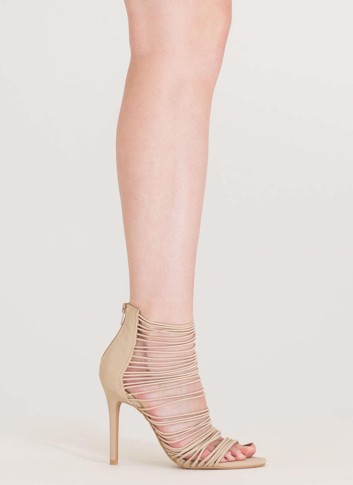 The Right Cords Strappy Caged Heels NUDE (Final Sale)
