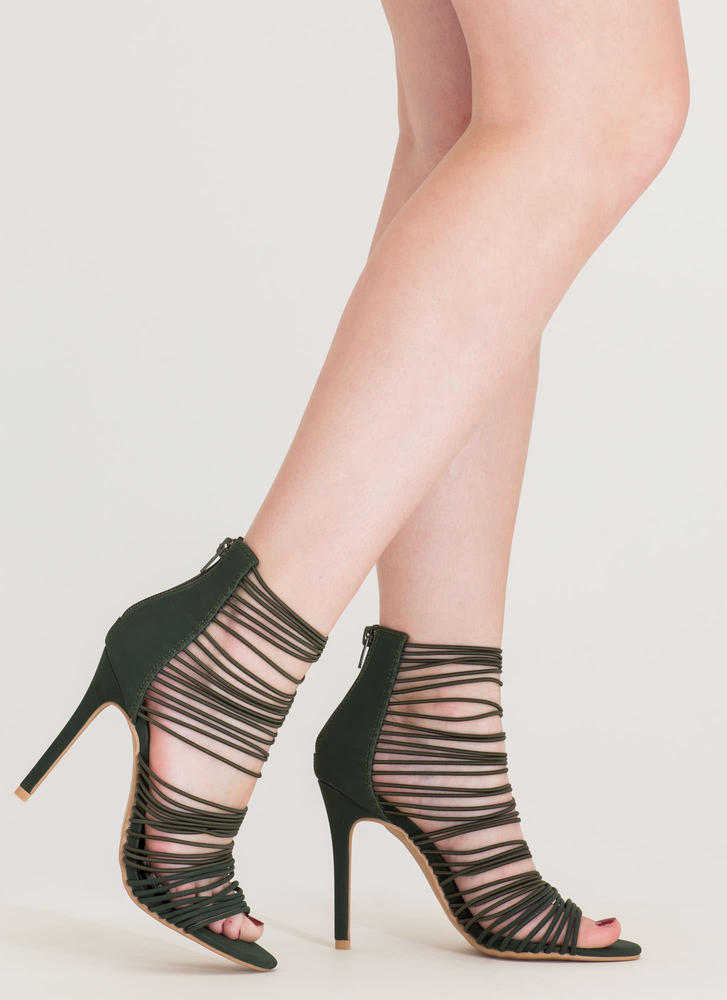 The Right Cords Strappy Caged Heels OLIVE BLACK NUDE - GoJane.com