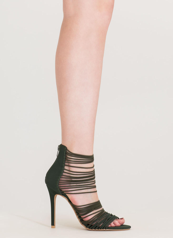 The Right Cords Strappy Caged Heels OLIVE (Final Sale)