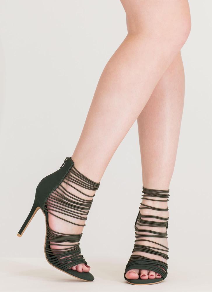 The Right Cords Strappy Caged Heels OLIVE