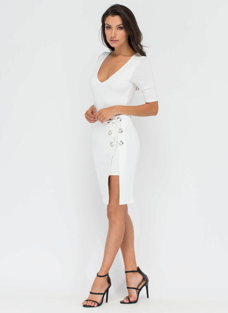 Lace Me Up Grommet Accent Skirt WHITE