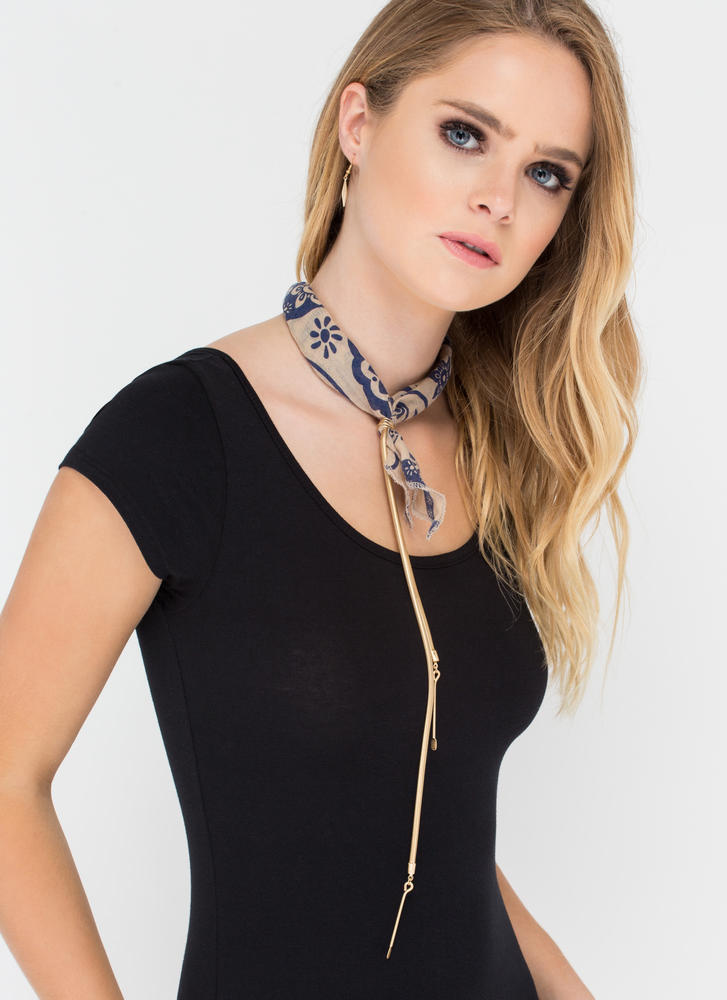 Best In The West Scarf Necklace NAVY (Final Sale)