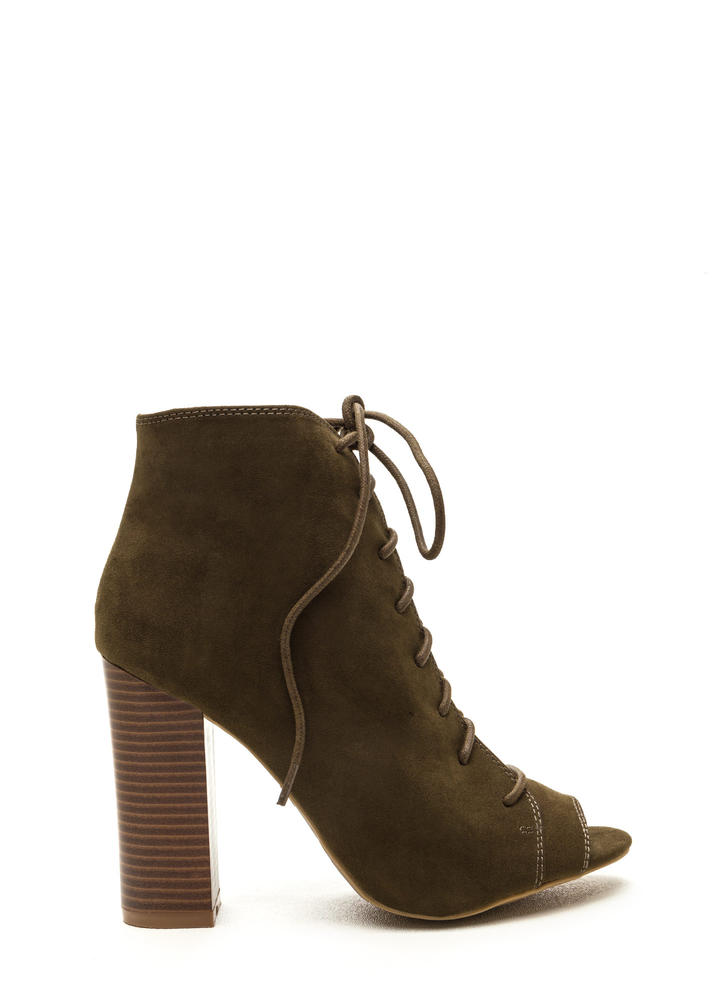 Fashion Authority Lace-Up Booties OLIVE (Final Sale)