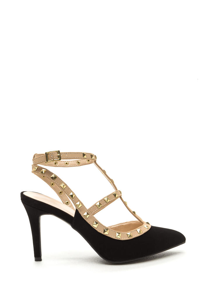 Good Sole Studded T-Strap Heels BLACK