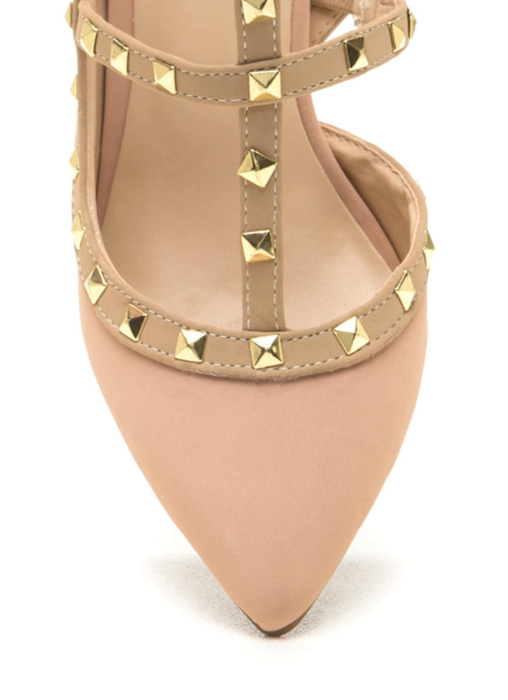 Good Sole Studded T-Strap Heels ROSE