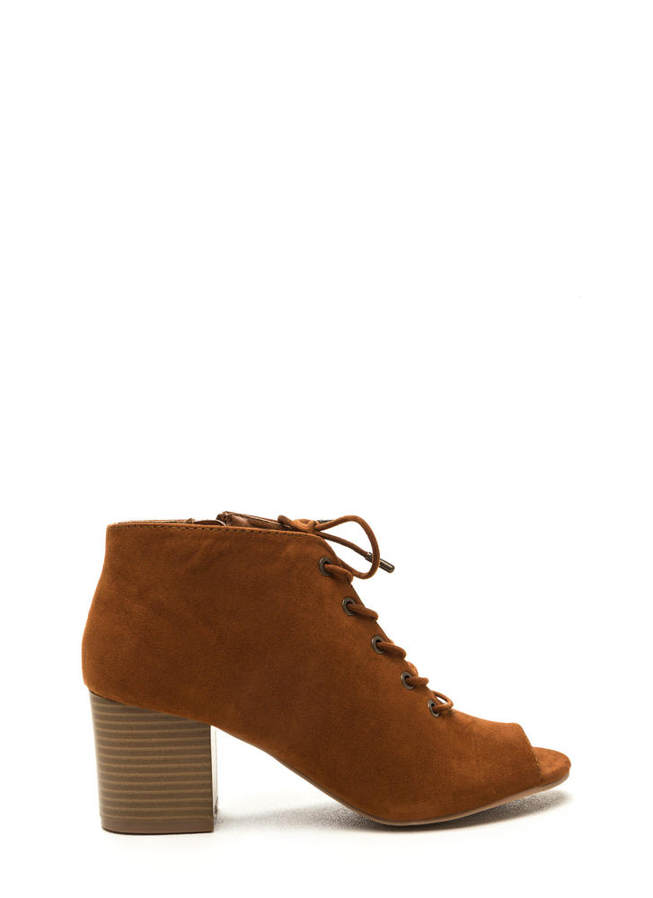 Day After Day Chunky Lace-Up Booties CHESTNUT (Final Sale)