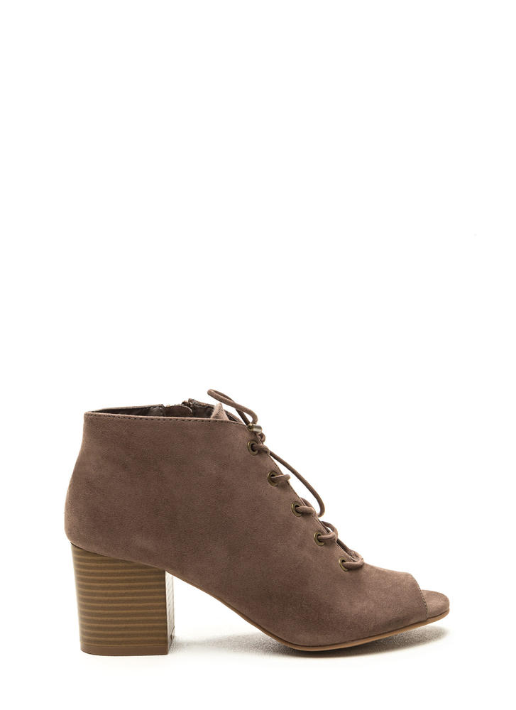 Day After Day Chunky Lace-Up Booties TAUPE (Final Sale)