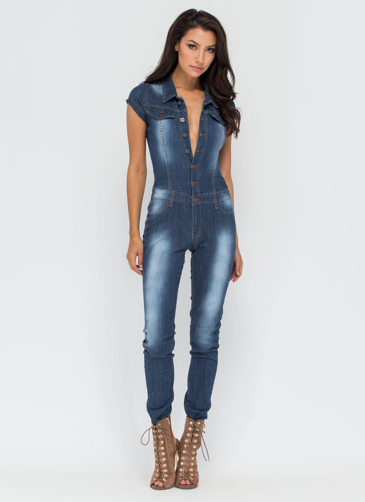 Delightful Denim Button-Up Jumpsuit