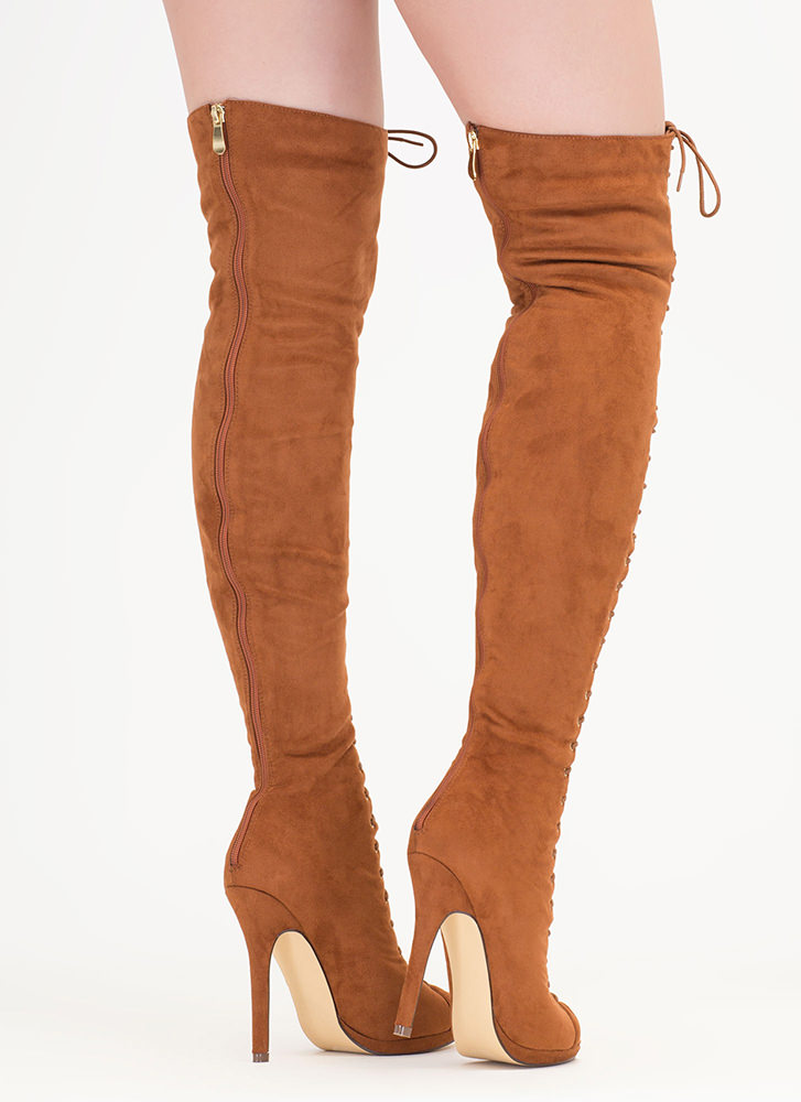 Revamp Faux Suede Over-The-Knee Boots CINNAMON