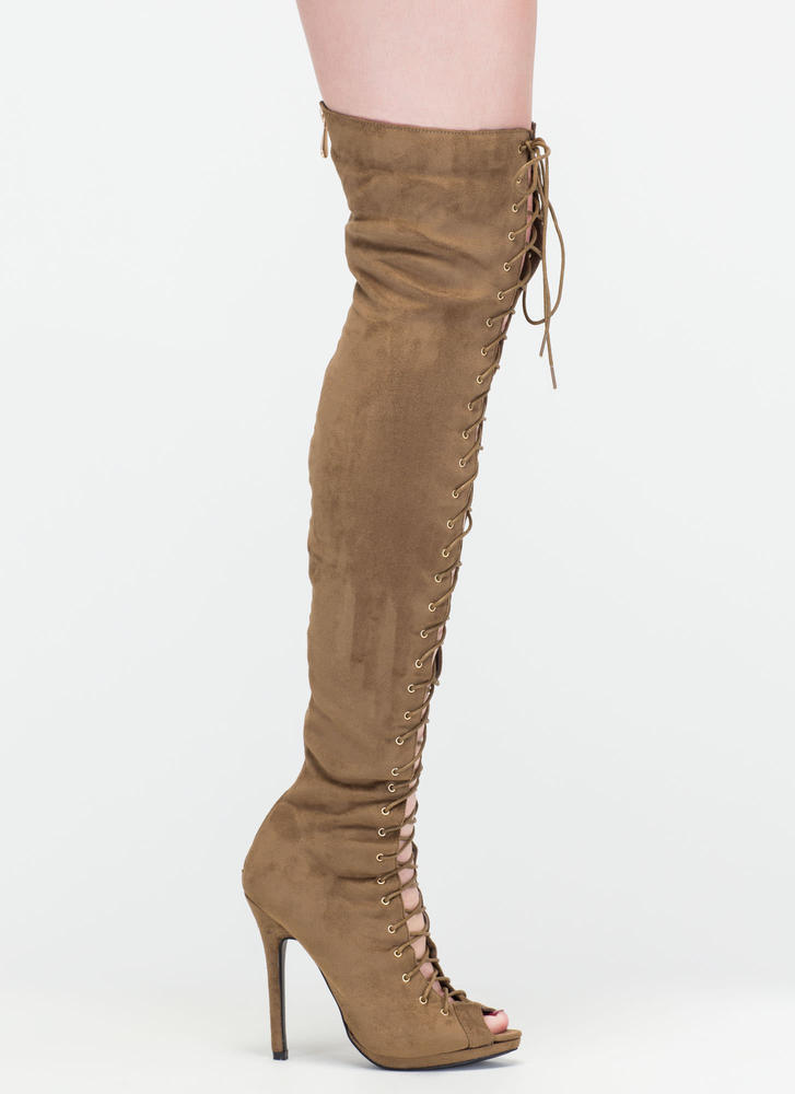 Revamp Faux Suede Over-The-Knee Boots OLIVE