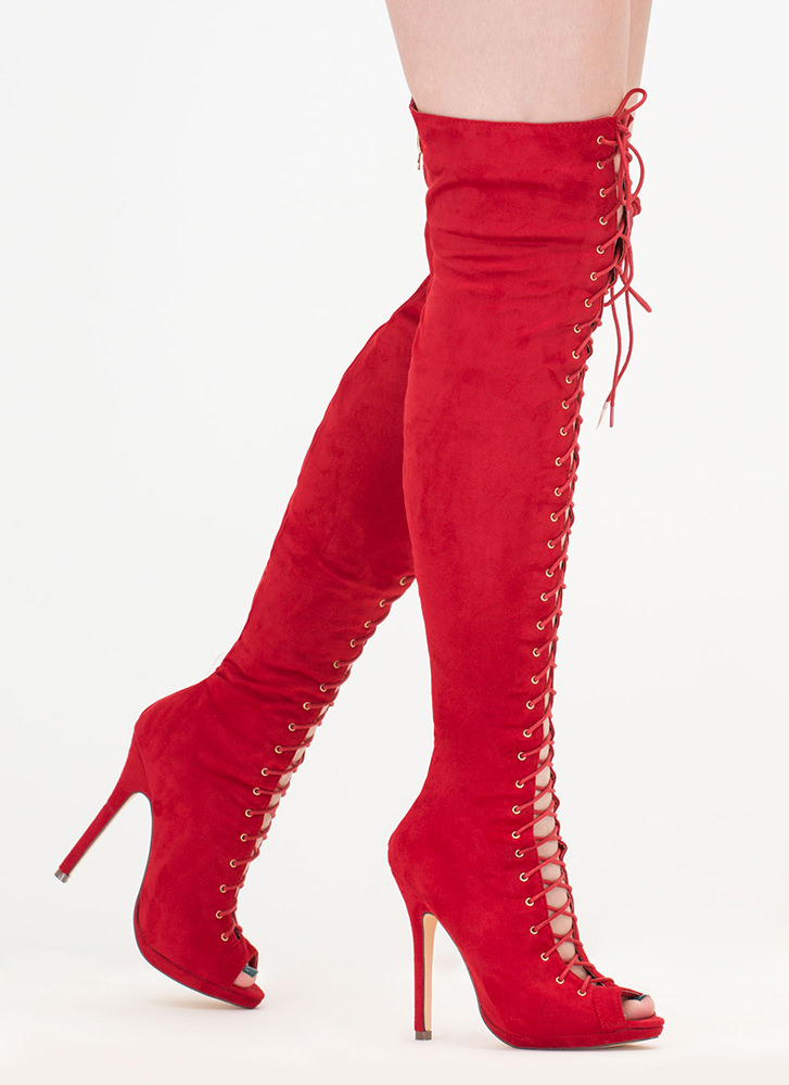 Revamp Faux Suede Over-The-Knee Boots RED