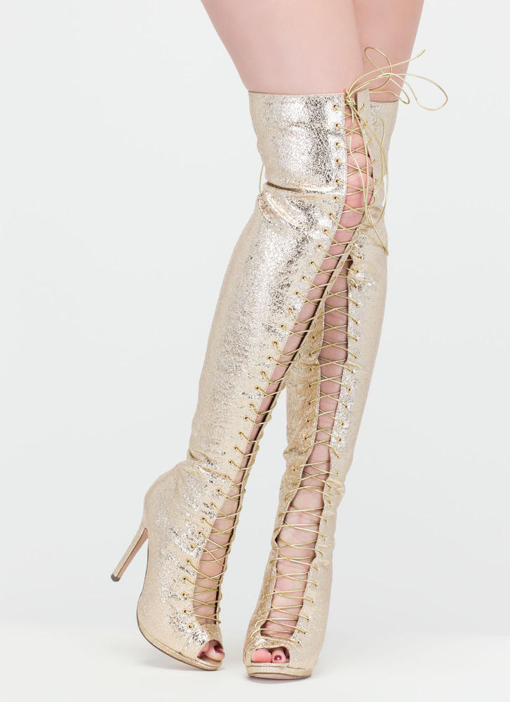 Revamp Metallic Over-The-Knee Boots GoJane.com