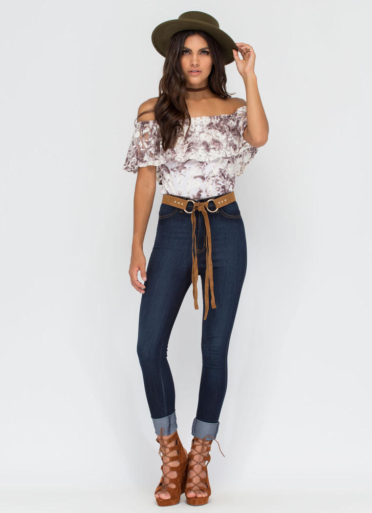 Give It A Swirl Ornate Off-Shoulder Top MULTI (Final Sale)