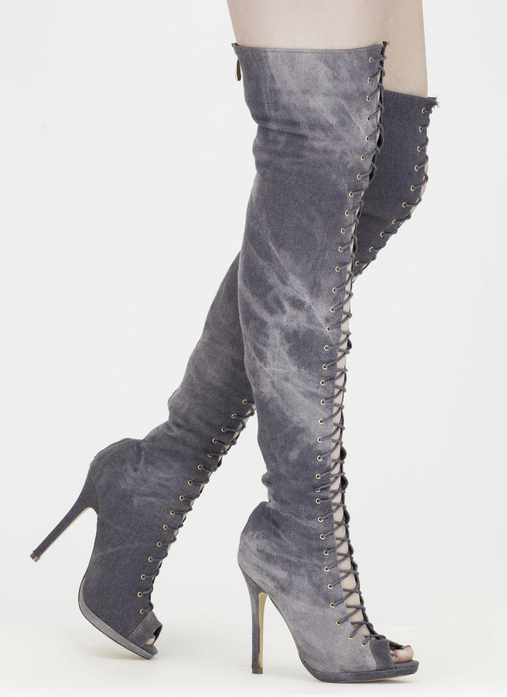 Revamp Denim Over-The-Knee Boots GREY