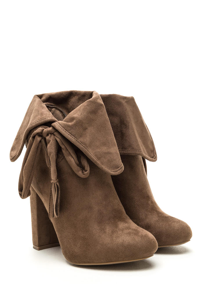 Bold Personality Faux Suede Booties TAUPE