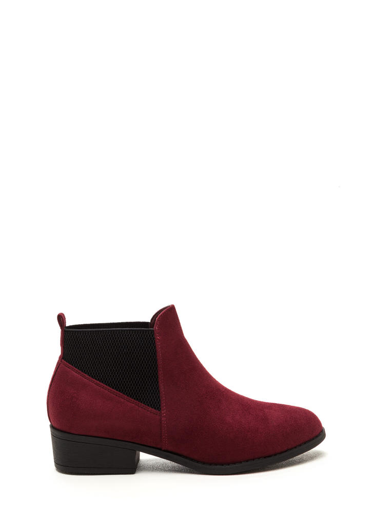 Fashion Harmony Faux Suede Booties BURGUNDY