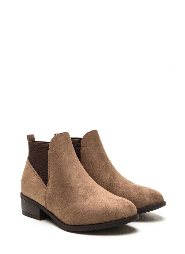 Fashion Harmony Faux Suede Booties TAUPE