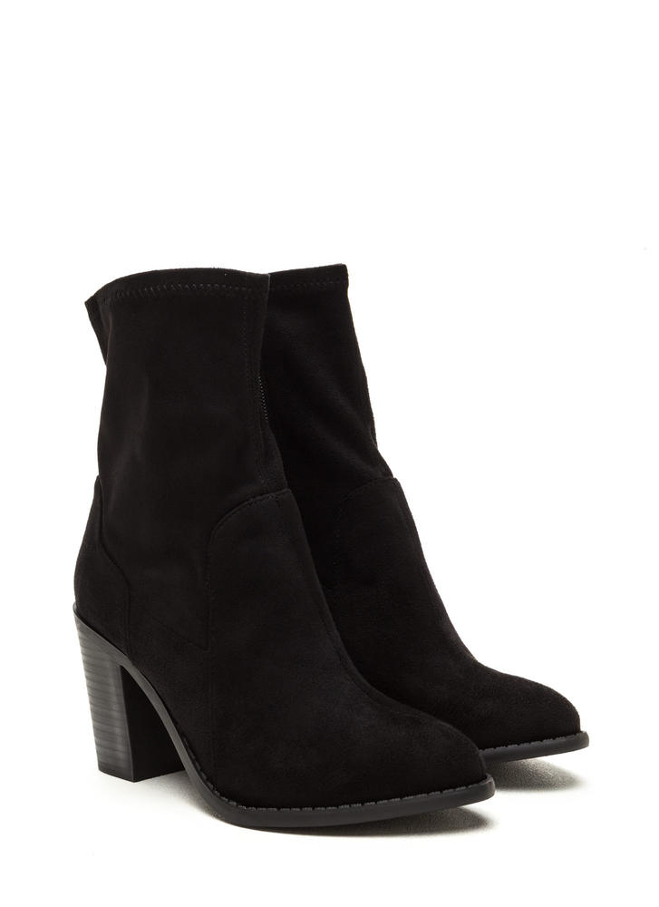 Save The Day Faux Suede Chunky Booties BLACK