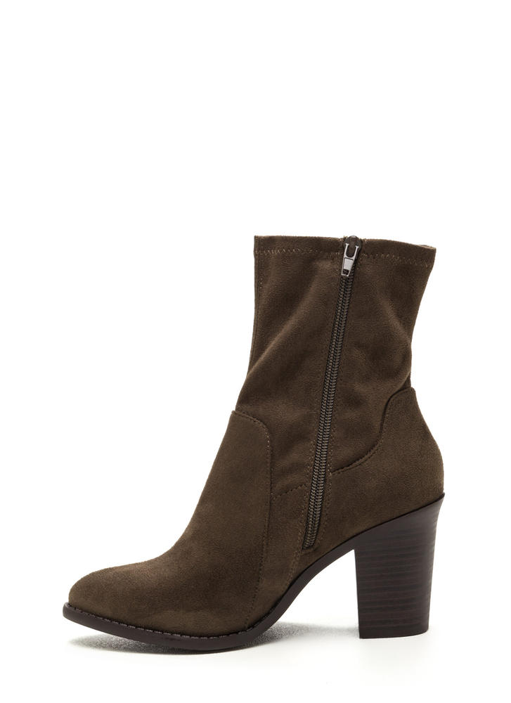 Save The Day Faux Suede Chunky Booties OLIVE