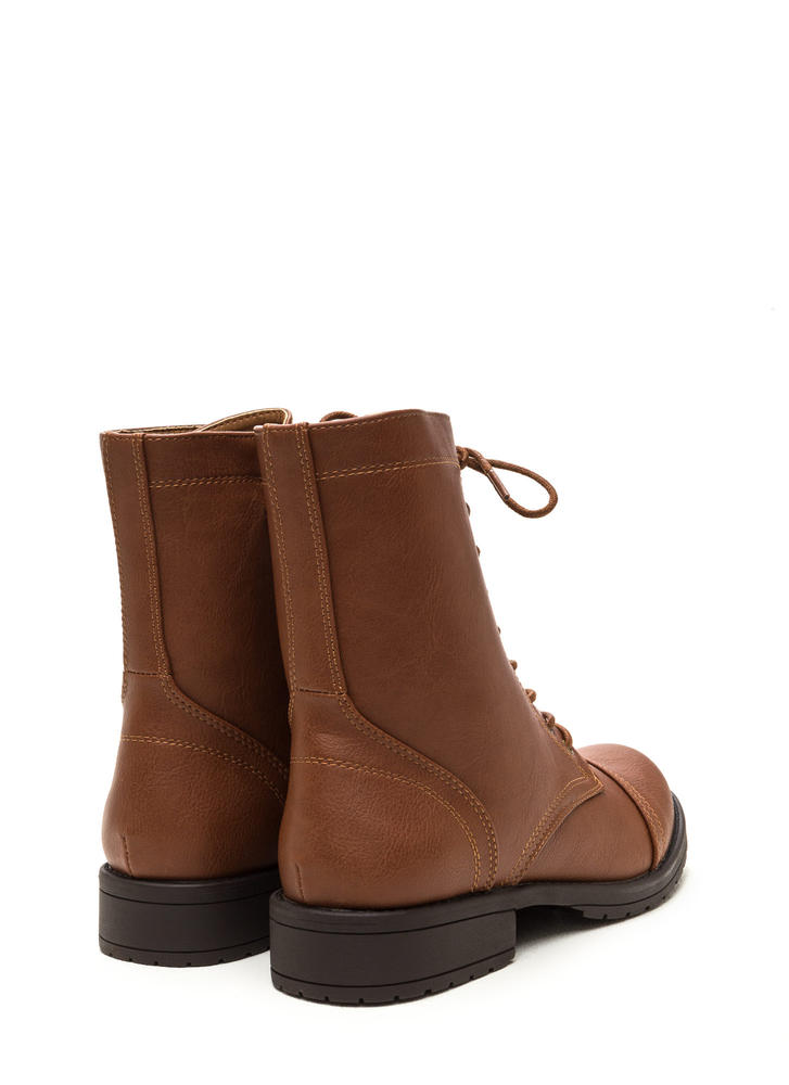 Fashion Operation Combat Boots COGNAC (Final Sale)