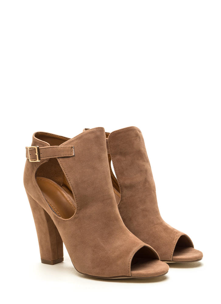 Secret Identity Cut-Out Booties  TAUPE (Final Sale)