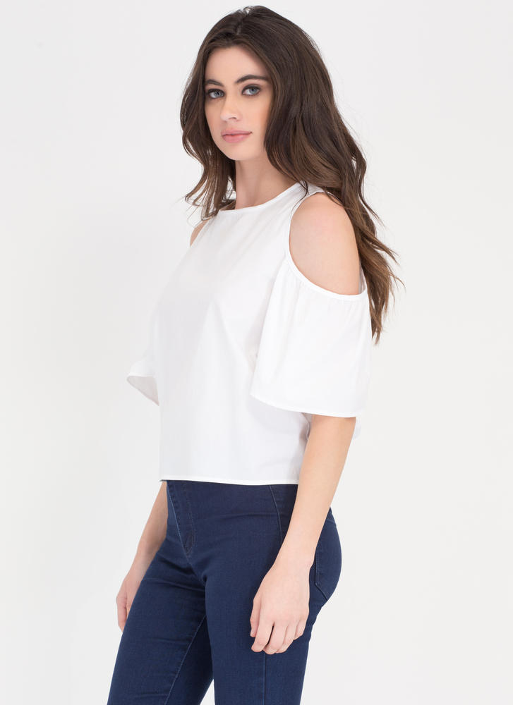 Tied Together Cold Shoulder Top WHITE