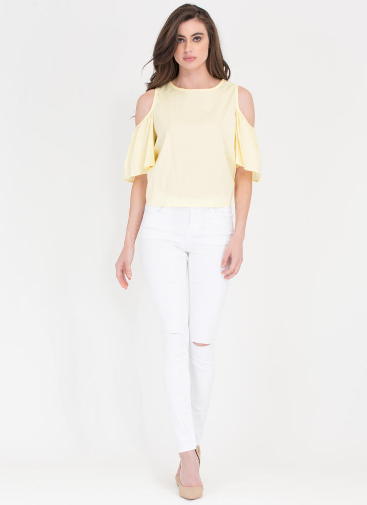 Tied Together Cold Shoulder Top YELLOW
