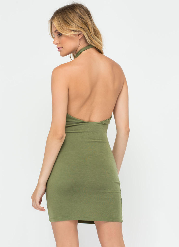 Weave In And Out Strappy Halter Dress OLIVE (Final Sale)