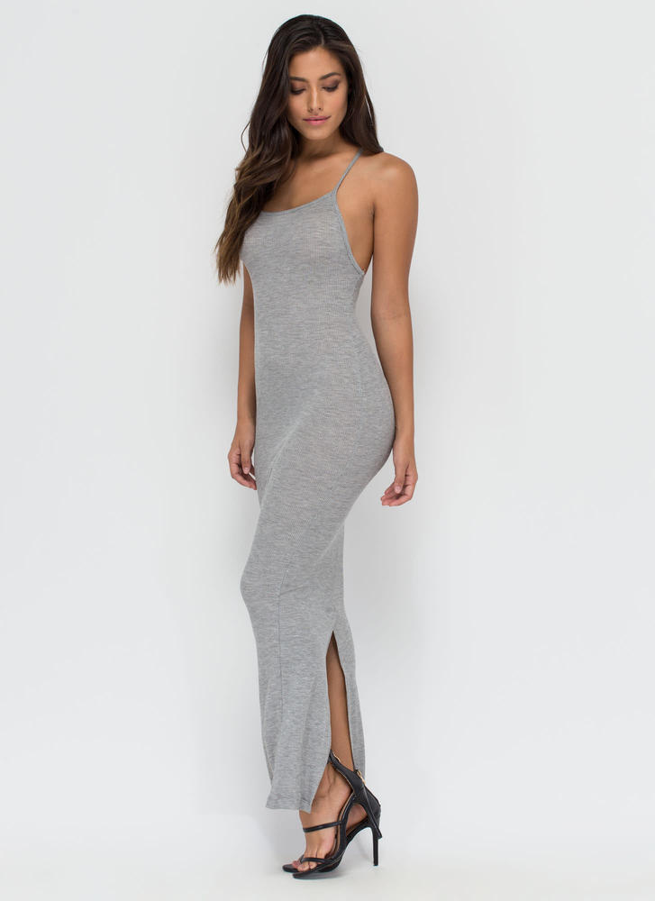 Like Back Thermal Bodycon Maxi Dress HGREY