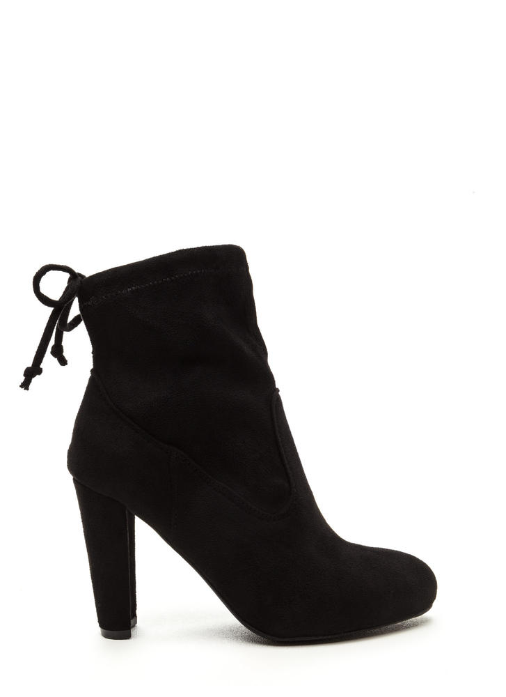 Key To Success Tied Chunky Booties BLACK