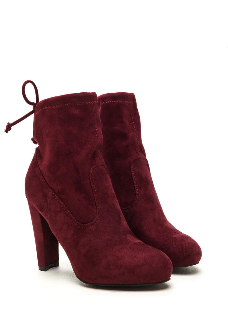 Key To Success Tied Chunky Booties BURGUNDY