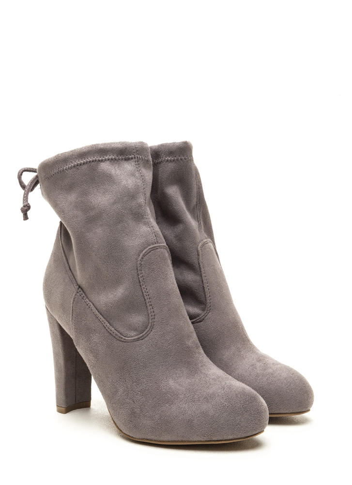 Key To Success Tied Chunky Booties GREY
