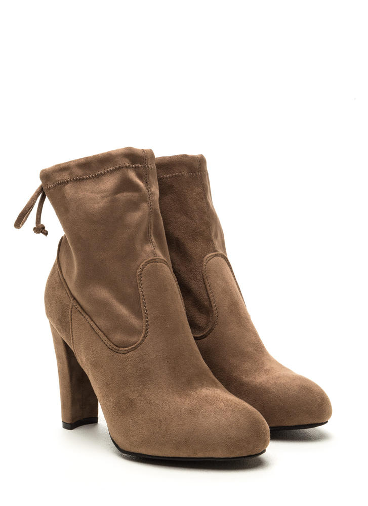 Key To Success Tied Chunky Booties TAUPE