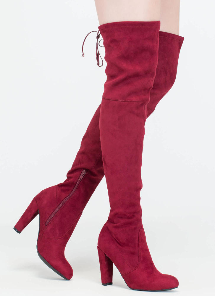 All Legs Over-The-Knee Chunky Boots BURGUNDY