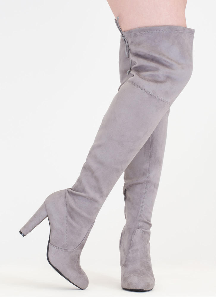 All Legs Over-The-Knee Chunky Boots GREY