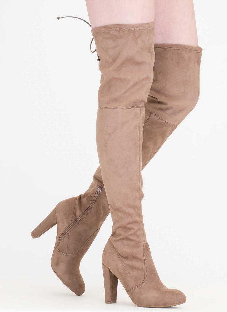 All Legs Over-The-Knee Chunky Boots TAUPE